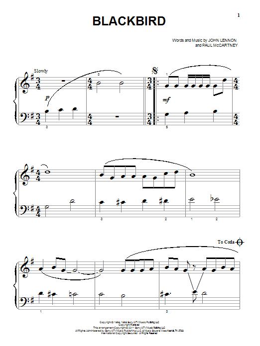 Partition piano Blackbird de The Beatles - Autre