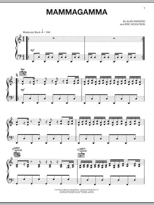Partition piano Mammagamma de Alan Parsons Project - Piano Voix Guitare (Mélodie Main Droite)