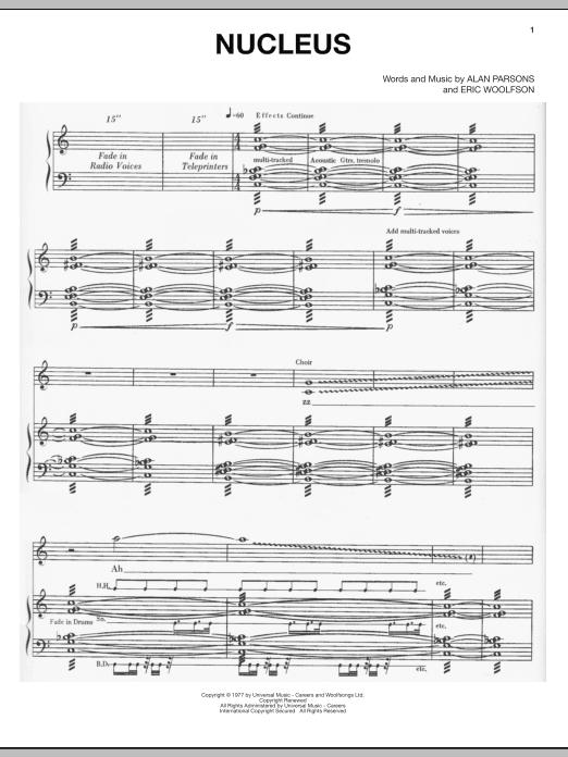 Partition piano Nucleus de Alan Parsons Project - Piano Voix Guitare (Mélodie Main Droite)