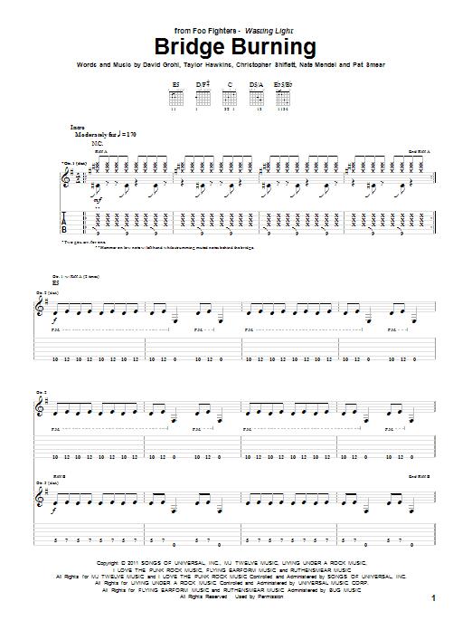 Tablature guitare Bridge Burning de Foo Fighters - Tablature Guitare