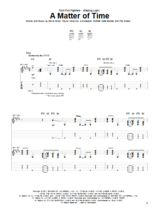 A Matter Of Time (Guitar Tab)