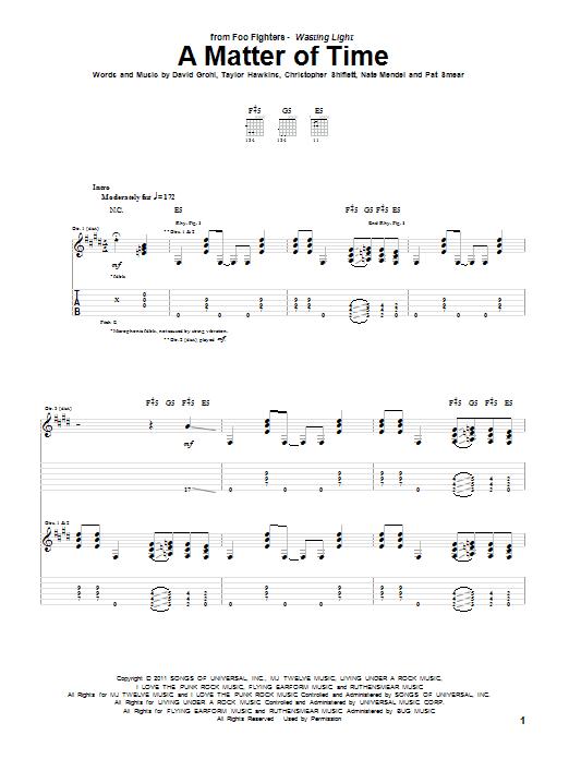 Tablature guitare A Matter Of Time de Foo Fighters - Tablature Guitare