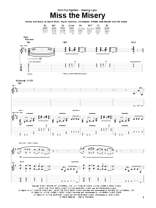 Miss The Misery Sheet Music