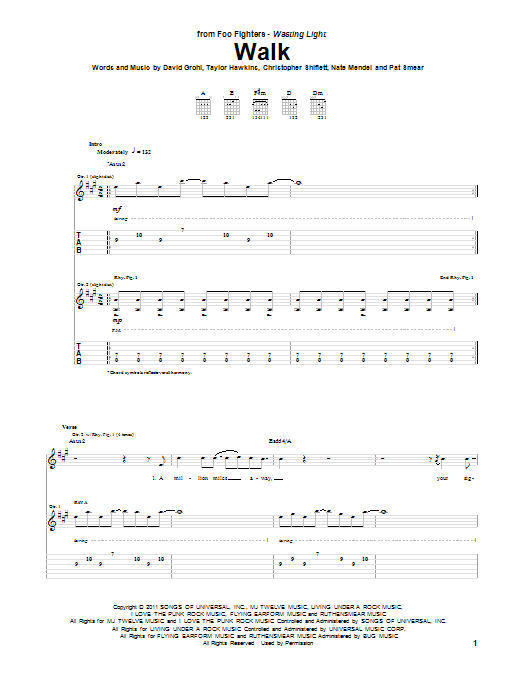 Walk Guitar Tab by Foo Fighters (Guitar Tab – 85382)