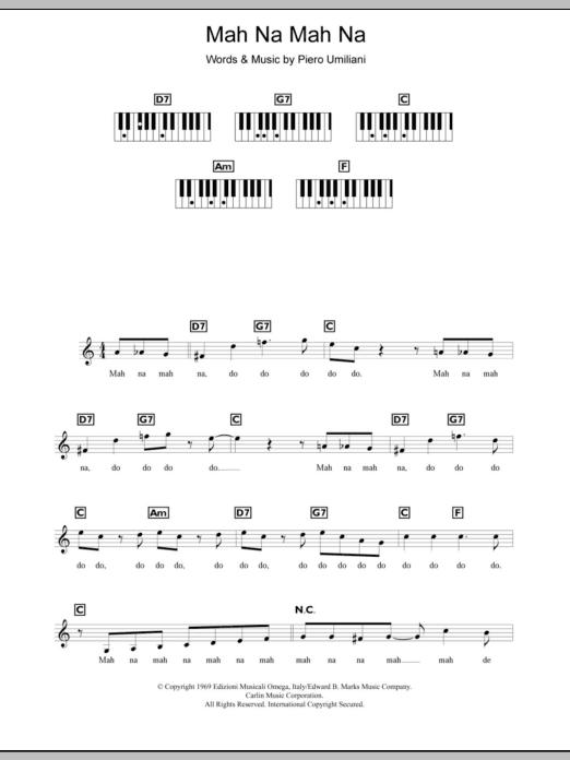 Mah Na Mah Na (Piano Chords/Lyrics)