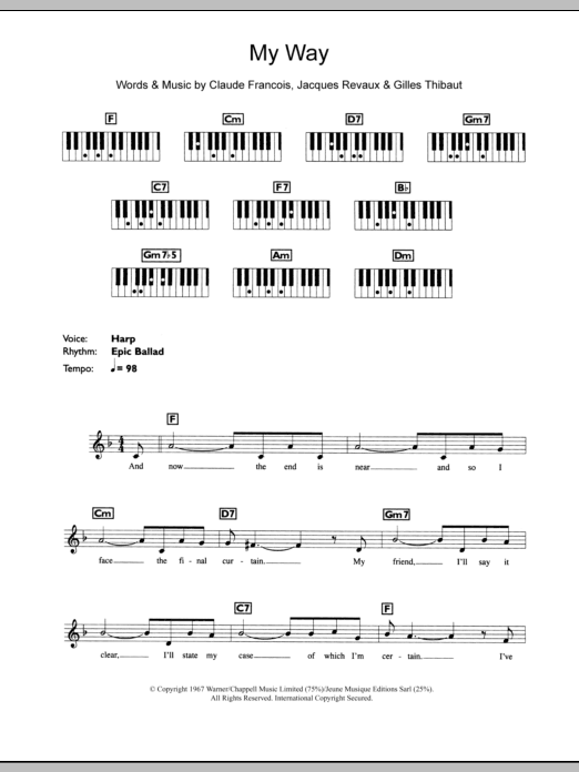 My Way sheet music by Frank Sinatra (Keyboard – 109528)