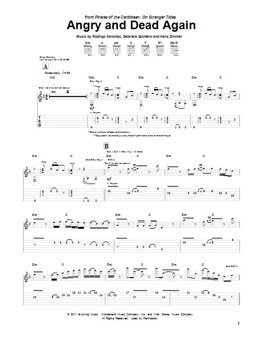 Tablature guitare Angry And Dead Again de Hans Zimmer - Tablature Guitare