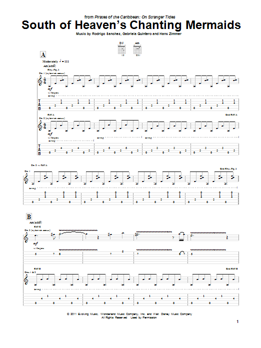 Tablature guitare South Of Heaven's Chanting Mermaids de Hans Zimmer - Tablature Guitare