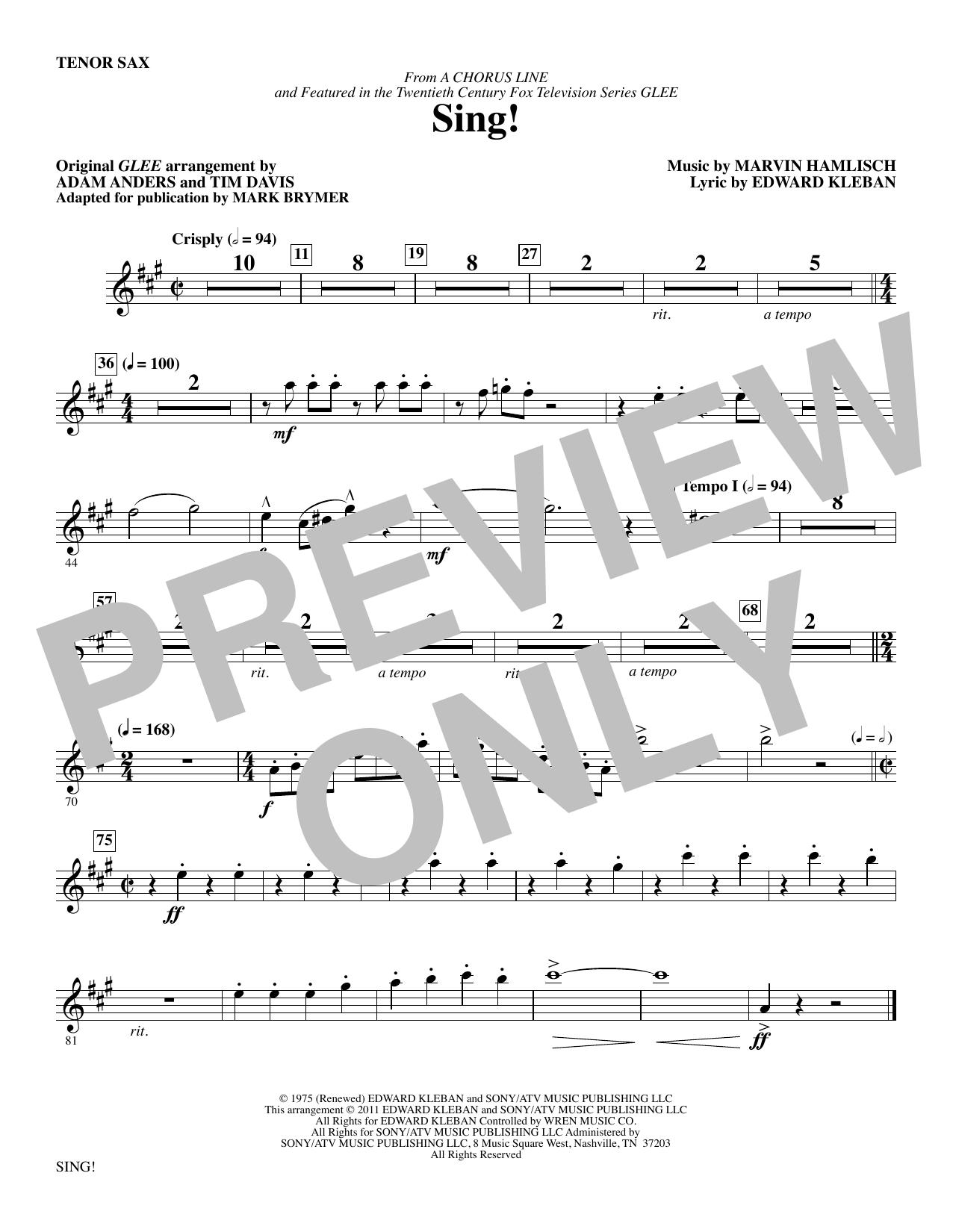 Sing! - Tenor Sax (Choir Instrumental Pak)