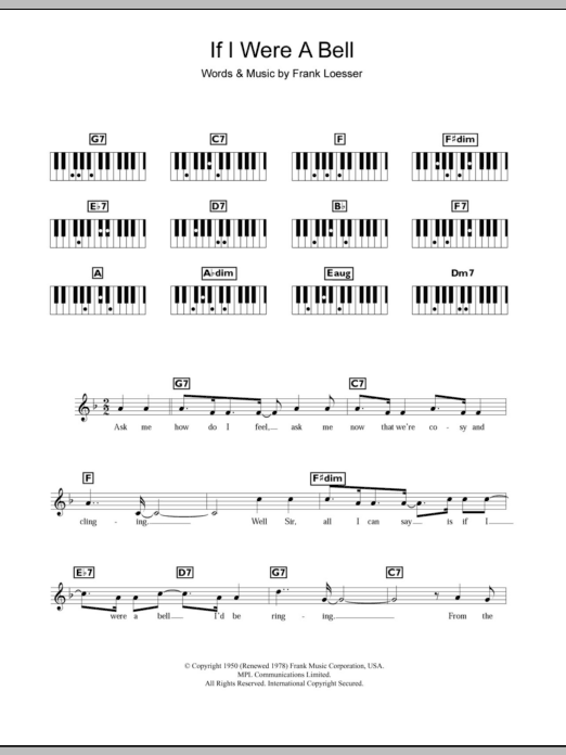 If I Were A Bell (from Guys and Dolls) Sheet Music