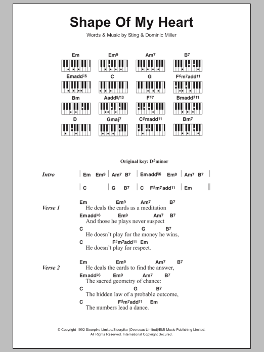Shape Of My Heart Sheet Music Sting Lyrics Piano Chords