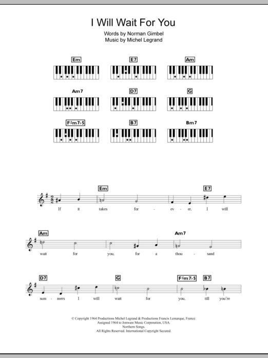 I Will Wait For You Sheet Music Direct