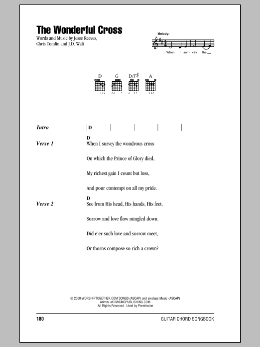 The Wonderful Cross Sheet Music
