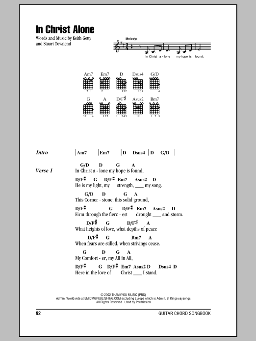 In Christ Alone (Guitar Chords/Lyrics)