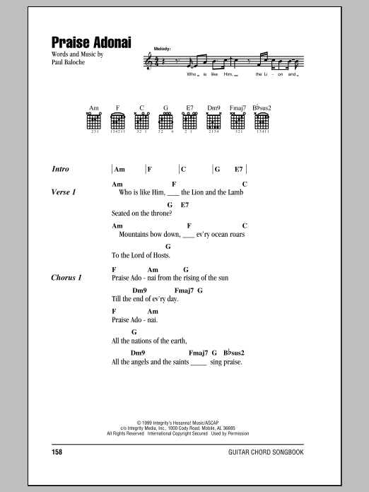 Praise Adonai (Guitar Chords/Lyrics)