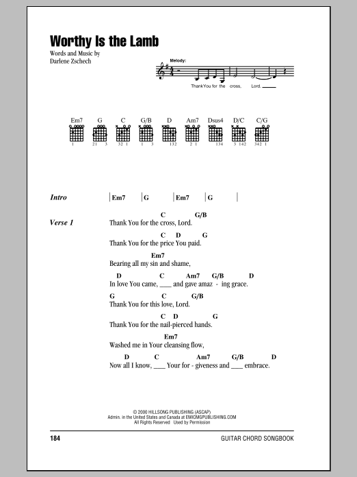 Worthy Is The Lamb (Guitar Chords/Lyrics)