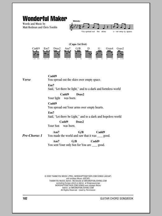 Wonderful Maker by Chris Tomlin - Guitar Chords/Lyrics - Guitar ...