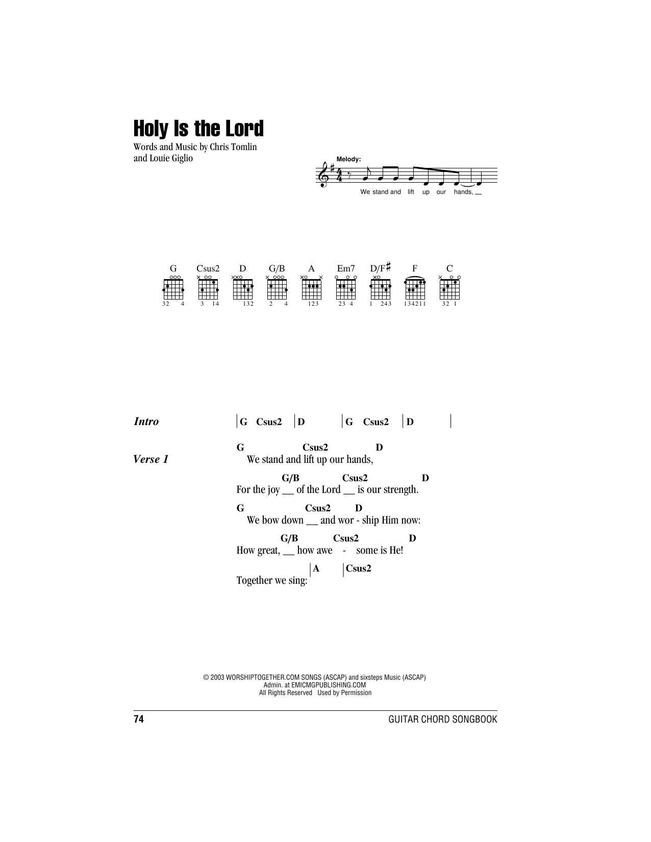 Holy Is The Lord (Guitar Chords/Lyrics)
