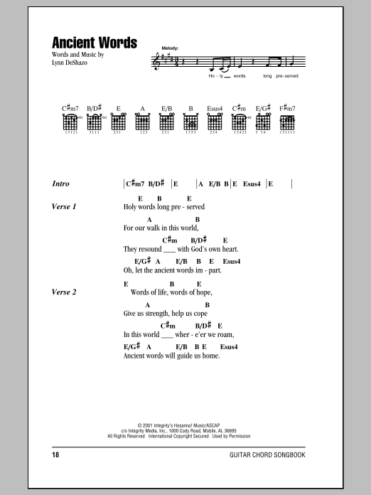 Ancient Words Sheet Music