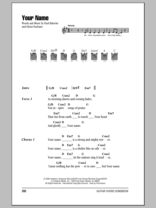 Your Name (Guitar Chords/Lyrics)