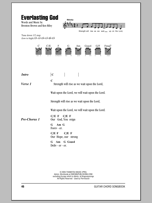 Everlasting God sheet music by Chris Tomlin (Lyrics & Chords – 85834)