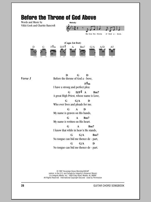 Before The Throne Of God Above (Guitar Chords/Lyrics)