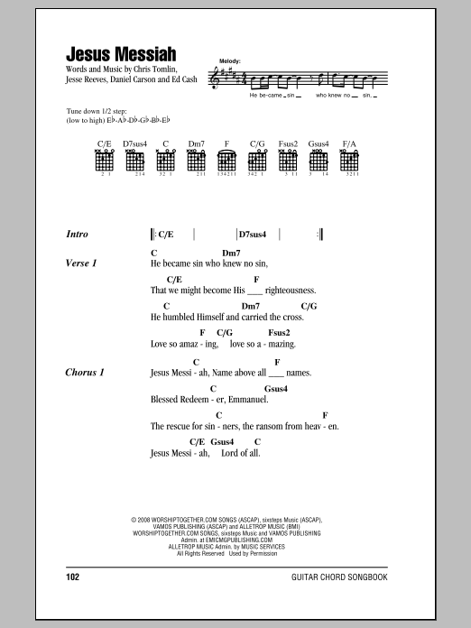 Jesus Messiah Sheet Music | Chris Tomlin | Lyrics & Chords
