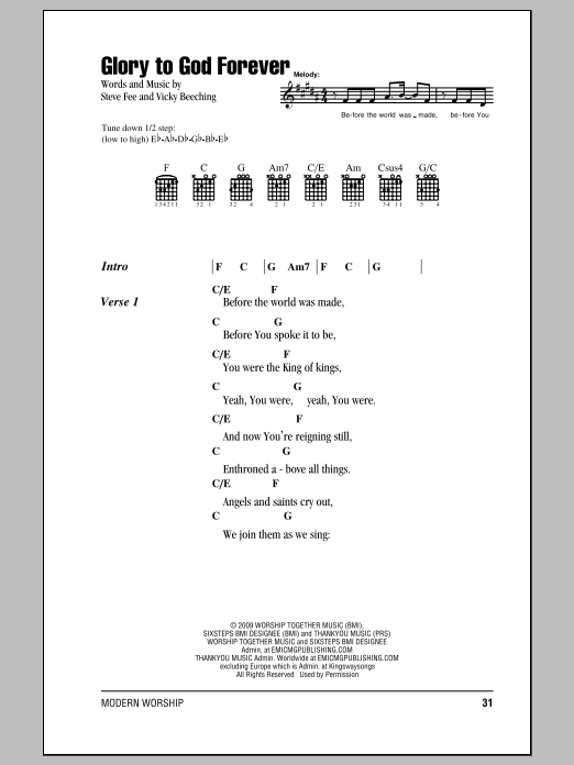 Glory To God Forever by Fee - Guitar Chords/Lyrics - Guitar Instructor