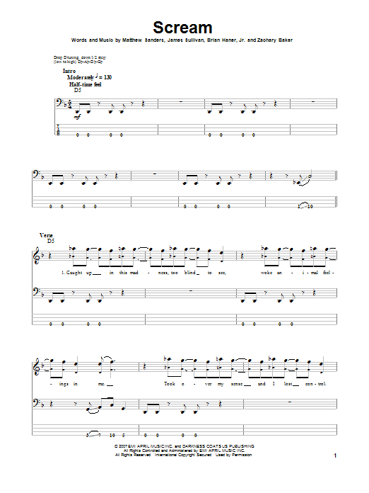 Tablature guitare Scream de Avenged Sevenfold - Tablature Basse