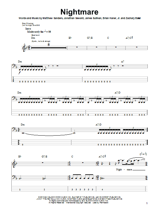 Guitar guitar tabs avenged sevenfold : Nightmare | Sheet Music Direct