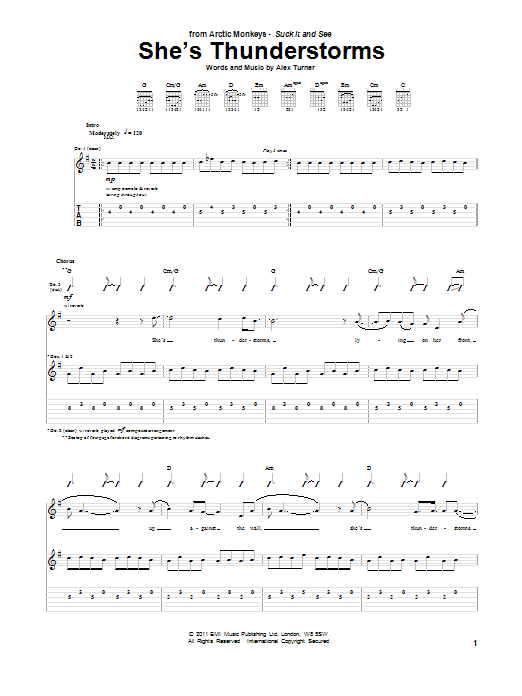 Tablature guitare She's Thunderstorms de Arctic Monkeys - Tablature Guitare