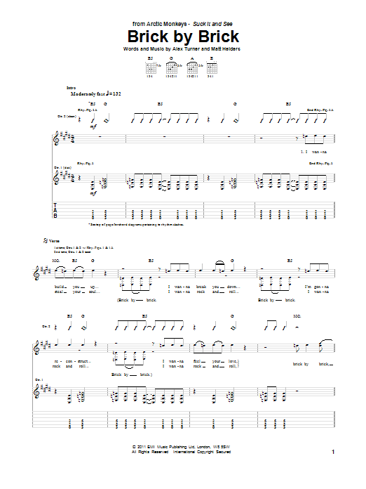 Tablature guitare Brick By Brick de Arctic Monkeys - Tablature Guitare