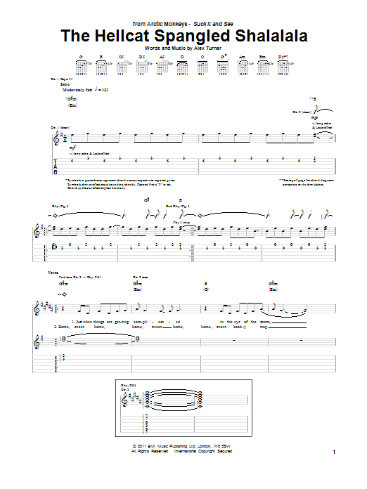 Tablature guitare The Hellcat Spangled Shalalala de Arctic Monkeys - Tablature Guitare