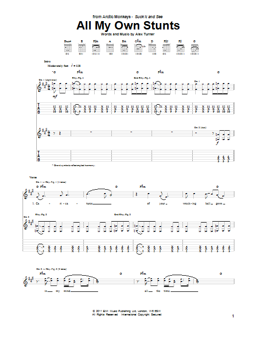 All My Own Stunts Sheet Music