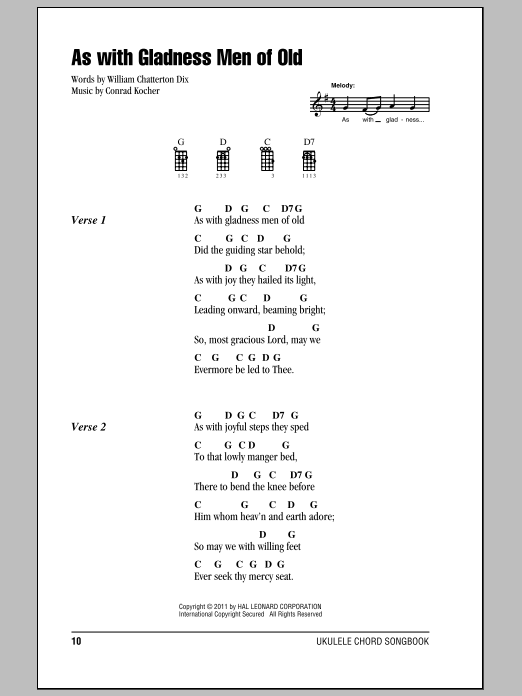 Tablature guitare As With Gladness Men Of Old de William Chatterton Dix - Ukulele (strumming patterns)