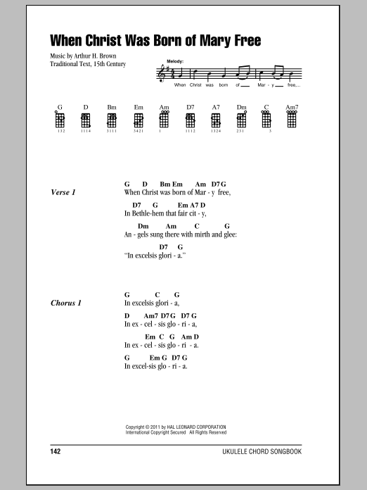 Tablature guitare When Christ Was Born Of Mary Free de Arthur H. Brown - Ukulele (strumming patterns)