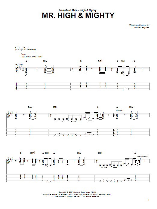 Tablature guitare Mr. High & Mighty de Warren Haynes - Tablature Guitare