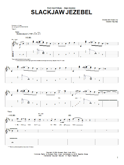 Tablature guitare Slackjaw Jezebel de Warren Haynes - Tablature Guitare