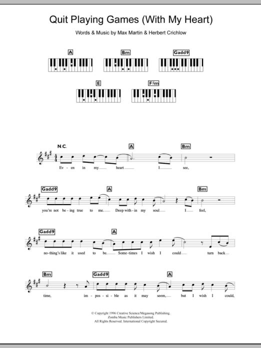 Quit Playing Games With My Heart Backstreet Boys Keyboard