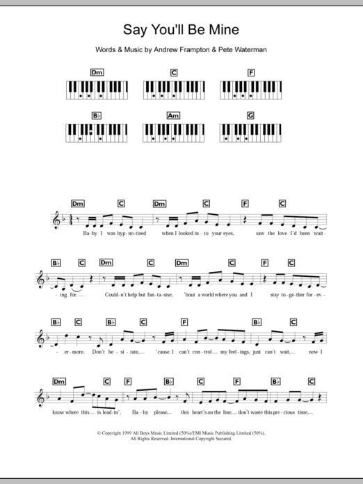Say You'll Be Mine Sheet Music