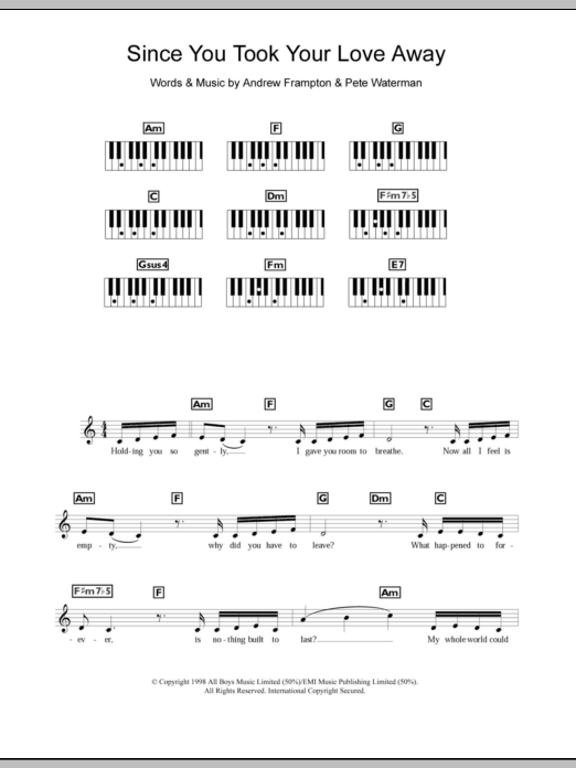 Since You Took Your Love Away Sheet Music