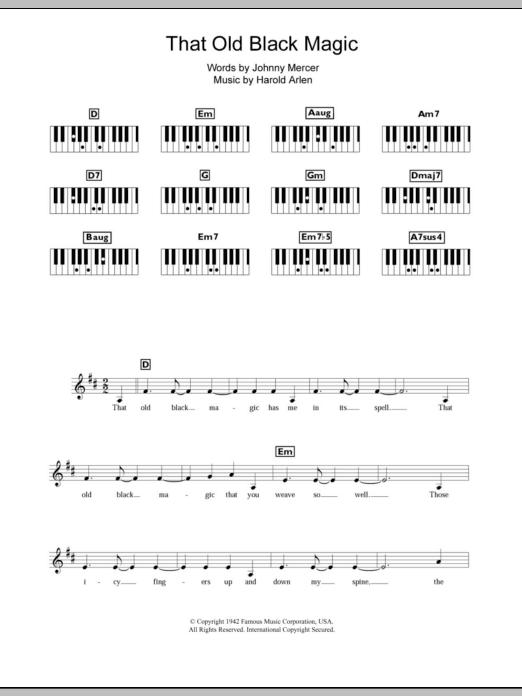 That Old Black Magic (Piano Chords/Lyrics)
