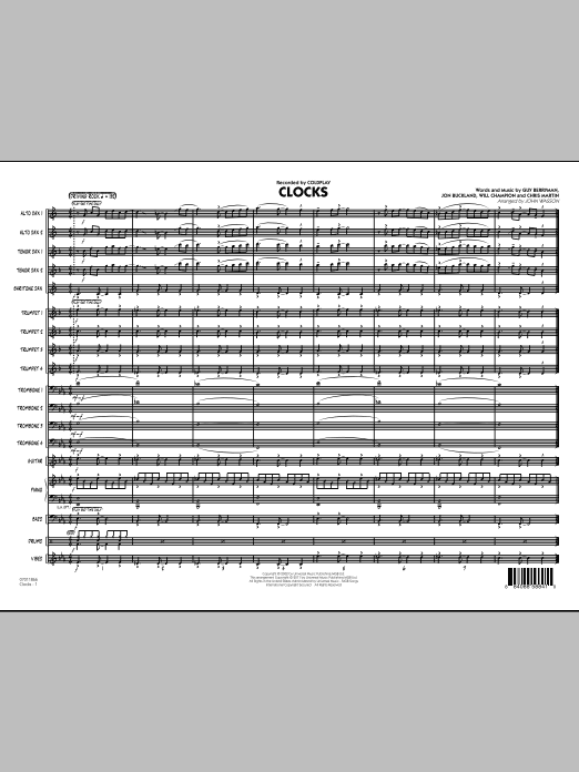 Clocks (COMPLETE) sheet music for jazz band by John Wasson, Chris Martin, Coldplay, Guy Berryman, Jon Buckland and Will Champion. Score Image Preview.
