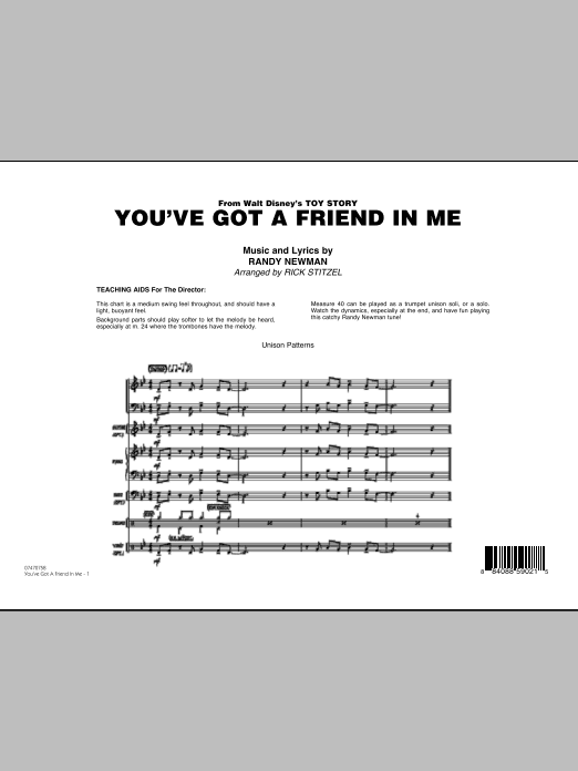 You've Got A Friend In Me (Wheezy's Version) (from Toy Story 2) (arr. Rick Stitzel) - Full Score (Jazz Ensemble)