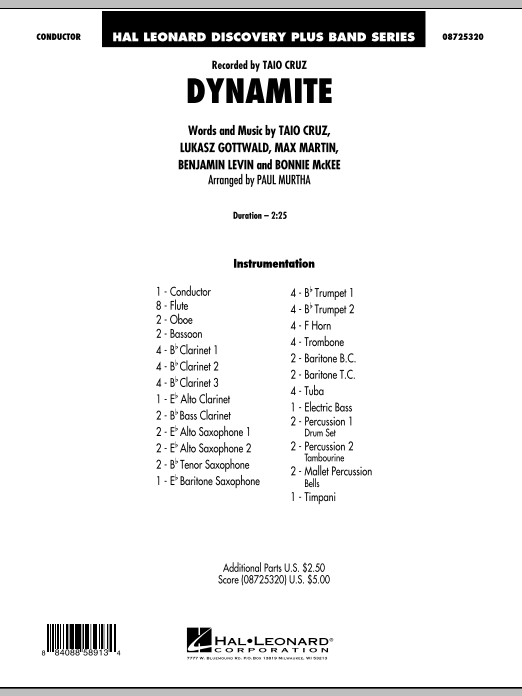 Dynamite (COMPLETE) sheet music for concert band by Max Martin, Benjamin Levin, Bonnie McKee, Lukasz Gottwald, Paul Murtha and Taio Cruz. Score Image Preview.