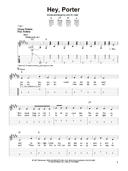 Tablature guitare Hey, Porter de Johnny Cash - Tablature guitare facile