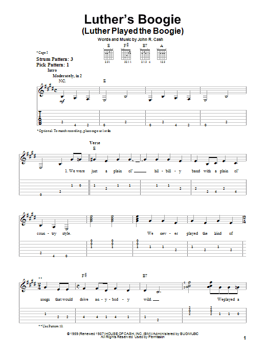 Tablature guitare Luther's Boogie (Luther Played The Boogie) de Johnny Cash - Tablature guitare facile