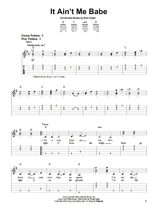 It Ain't Me Babe (Easy Guitar Tab)