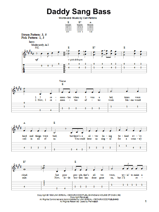 Tablature guitare Daddy Sang Bass de Johnny Cash - Tablature guitare facile