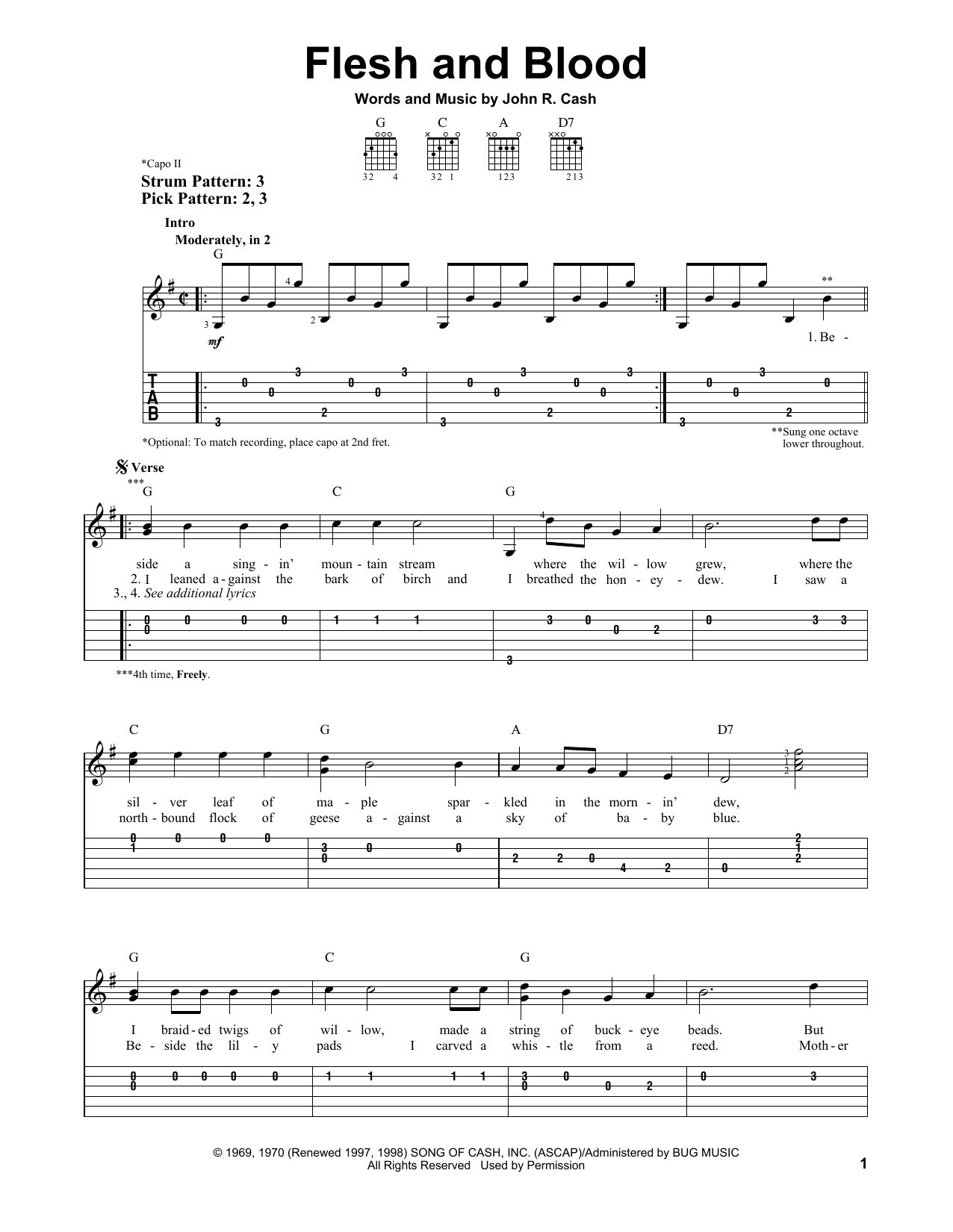 Tablature guitare Flesh And Blood de Johnny Cash - Tablature guitare facile